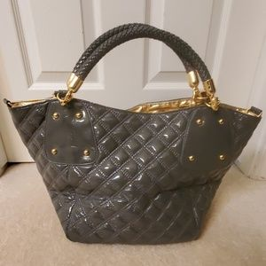 Big Buddha large gray gold tote bag NEW